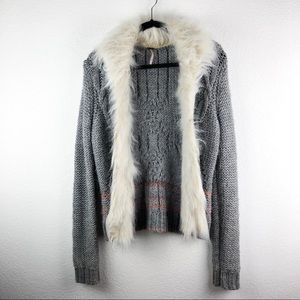 Free People North Star Faux Fur Trimmed Cardigan